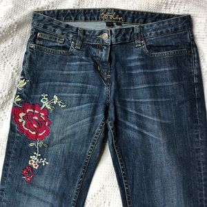 Boden embroidered bootcut jeans